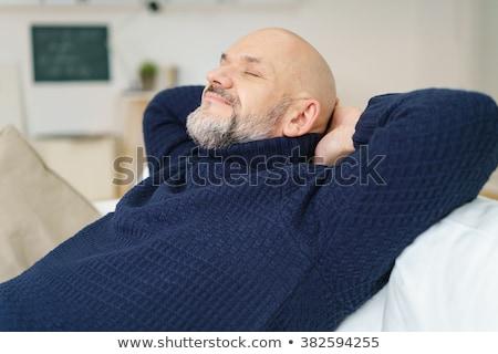 Memnun adam gözleri kapalı gözlük vektör dizayn Stok fotoğraf © RAStudio
