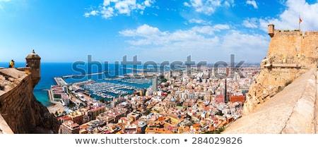 panorama · stad · bergen · hemel · boom · zon - stockfoto © sebikus