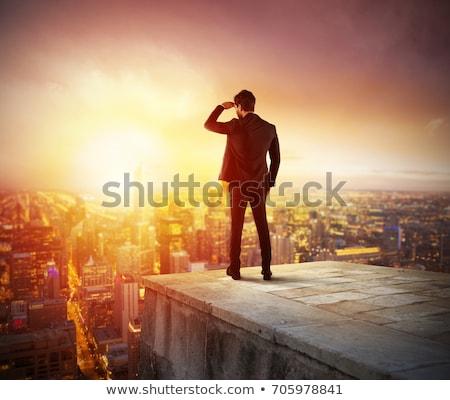Empresário novo horizonte negócio oportunidades céu Foto stock © alphaspirit