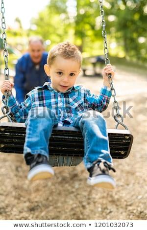 Foto d'archivio: Nonno · spingendo · nipote · corda · swing · sorriso
