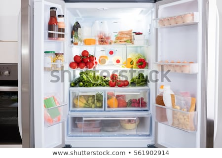 Open Refrigerator Filled With Fresh Fruits And Vegetable, Raw Food Concept, healthy eating concept Stock photo © galitskaya