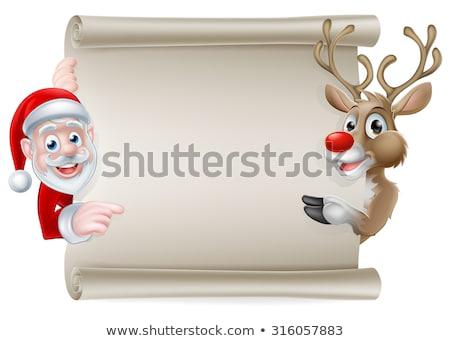 Seis rena natal rolar assinar Foto stock © Krisdog
