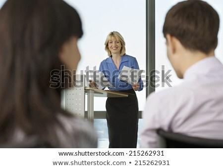 Vue arrière femme d'affaires présentation public auditorium homme Photo stock © wavebreak_media