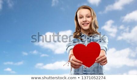Uśmiechnięty denim kurtka niebo ludzi Zdjęcia stock © dolgachov