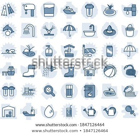 Drop Water Dripping In Sea Vector Thin Line Icon Stock photo © pikepicture