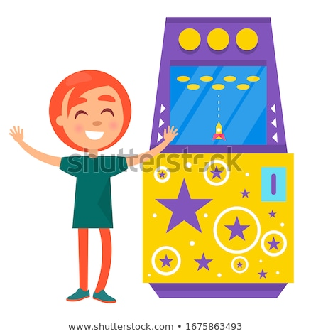 Girl with Red Hair Playing Arcade Machine Vector Stock photo © robuart