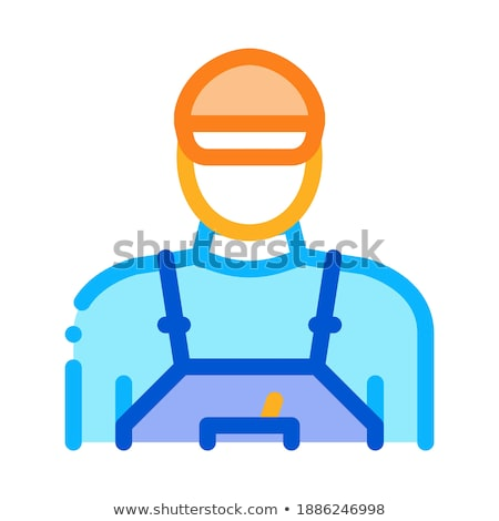 tile stacker worker icon vector outline illustration Stock photo © pikepicture