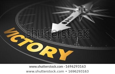 3D boussole aiguille pointant texte victoire Photo stock © tashatuvango