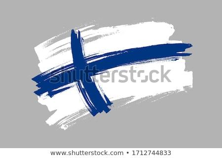 Finlandia banderą biały tle ramki fali Zdjęcia stock © butenkow