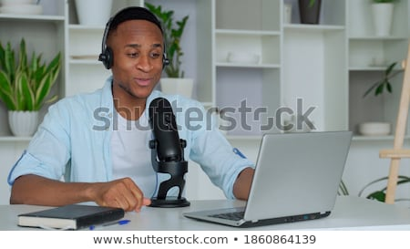блоггер ноутбука микрофона аудио технологий Сток-фото © dolgachov