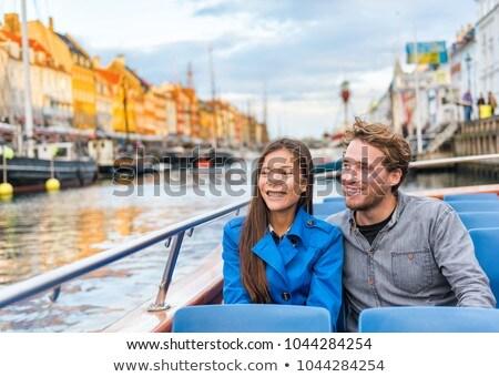 Kopenhagen toeristen paar stad boot cruise Stockfoto © Maridav