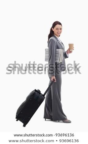 Profil üzletasszony bőrönd újság kávé fehér Stock fotó © wavebreak_media