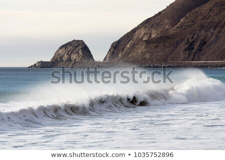 stormy weather at the black beach with high waves stock photo © meinzahn