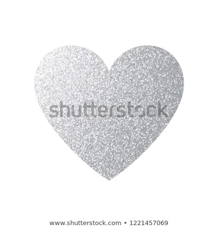 gümüş · kalp · sevmek · ışık · Retro · hediye - stok fotoğraf © derocz