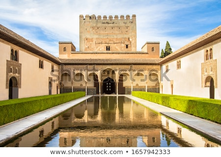 alhambra courtyard myrtles arches granada andalusia spain stock photo © billperry