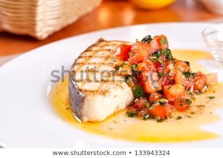 Preparação peixe molho picante Foto stock © illustrart