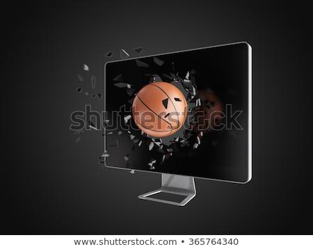 basketball destroy computer screen. Stock photo © teerawit