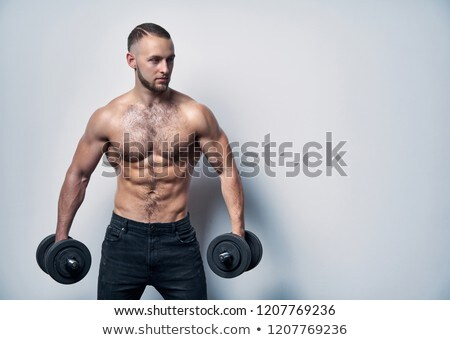 Macho musculature man with a copy space isolated on white - GREA Stock photo © zurijeta
