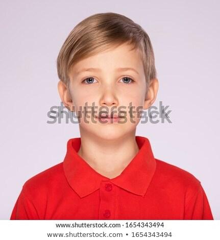 portret · cute · blond · uczeń · biały · przestrzeni - zdjęcia stock © zurijeta