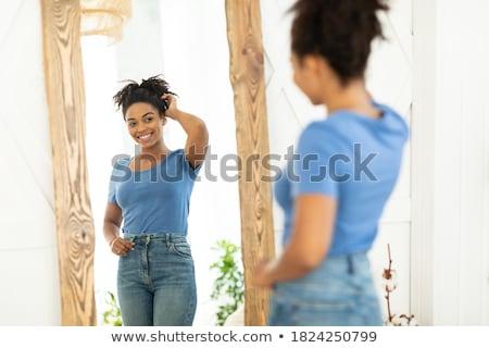 afro · nő · tökéletes · karcsú · test · divatos - stock fotó © NeonShot