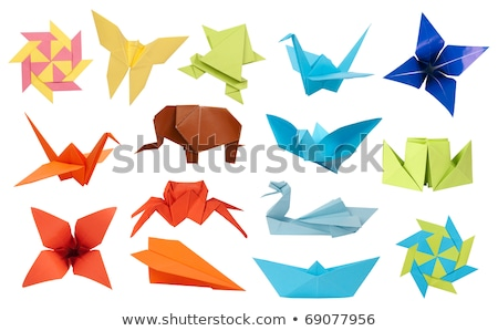 Origami craft with birds and planes Stock photo © colematt