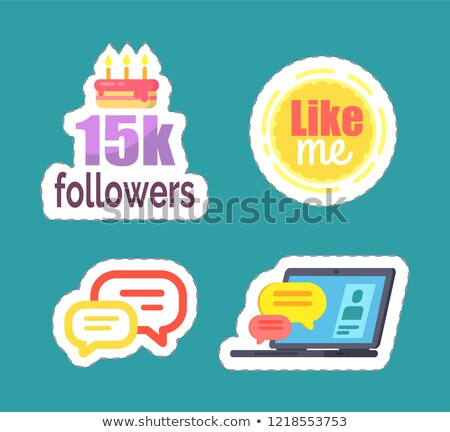 Like Me and 15k Followers Cake Icons Set Vector Stock photo © robuart