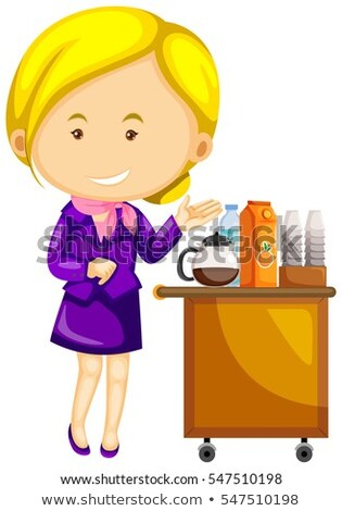 Flight attendant in purple uniform serving drinks Stock photo © colematt