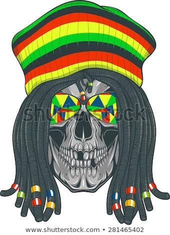Izolált vektor koponya rajz kalap cigaretta Stock fotó © netkov1