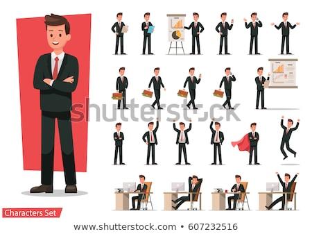 Cartoon sautant homme signe illustration Photo stock © bennerdesign