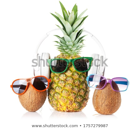 Ripe pineapple and coconut with sunglasses Stock photo © karandaev