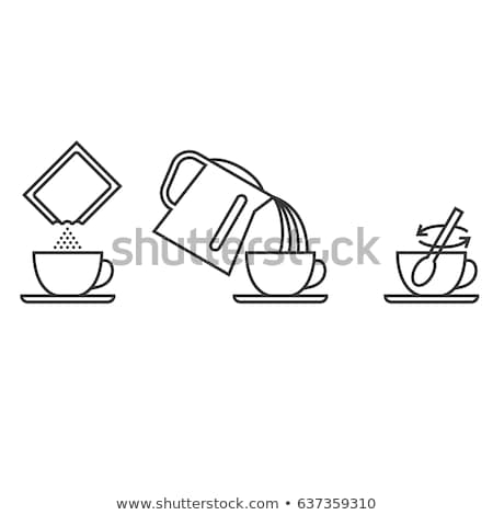 stirring spoon in cup of tea icon vector outline illustration Stock photo © pikepicture
