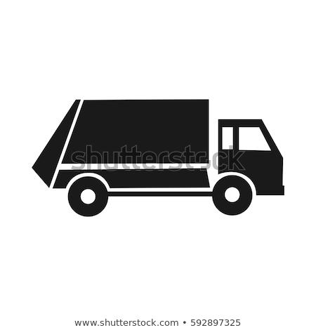 Basura camión negro iconos silueta blanco Foto stock © YuriSchmidt