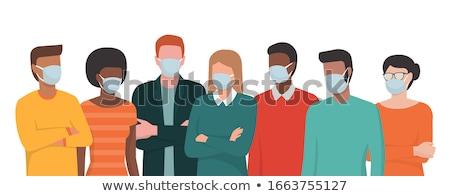 Illustration Frau tragen Gesicht medizinischen Maske Stock foto © robuart