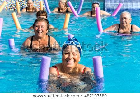 aktív · idős · nő · úszik · boldog · 60-as · évek - stock fotó © backyardproductions