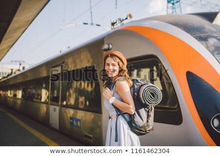 Lady железнодорожная станция женщину Sexy моде Сток-фото © konradbak