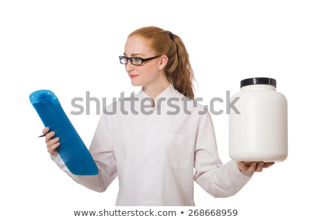 Pretty female doctor holding diary isolated on white Stock photo © Elnur