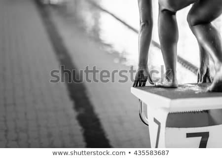 pływać · początku · widok · z · lotu · ptaka · kobiet · pływak - zdjęcia stock © dotshock