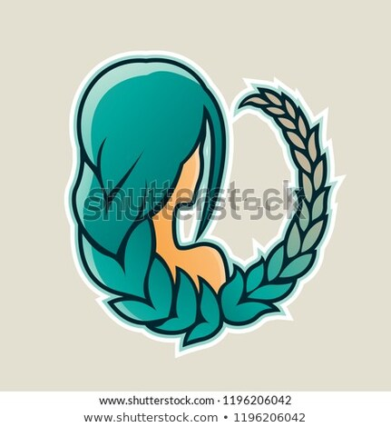 girl with persian green hair and wheat icon vector illustration stock photo © cidepix