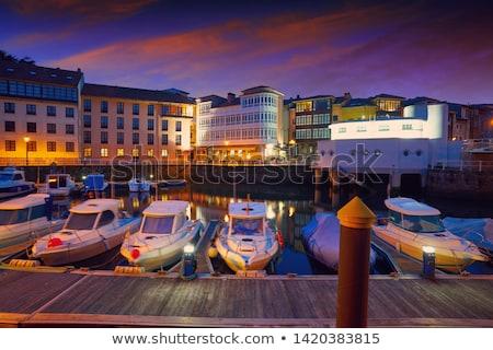 Llanes marina port sunset in Asturias Spain Stock photo © lunamarina