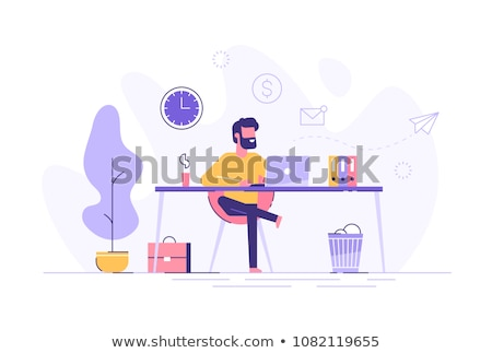 Businessman sitting in office. Flat vector illustration Stock photo © makyzz