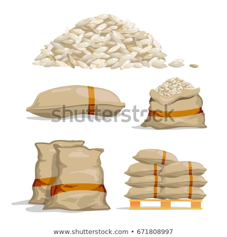 White bags with corn at heap of crop Stock photo © simazoran