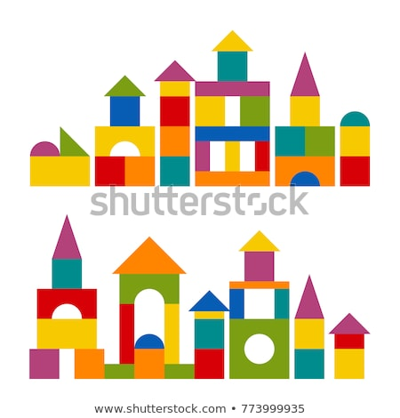 child girl building from toy blocks at home Stock photo © Lopolo
