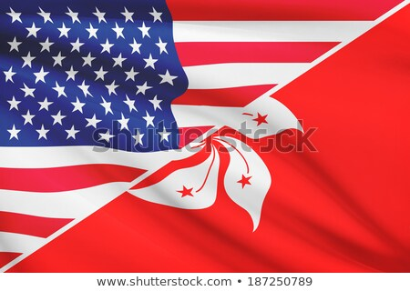 Two waving flags of United States and hong kong Stock photo © MikhailMishchenko