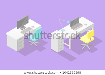 Work Place with Table, Lamp on it, Chair on Wheels Stock photo © robuart