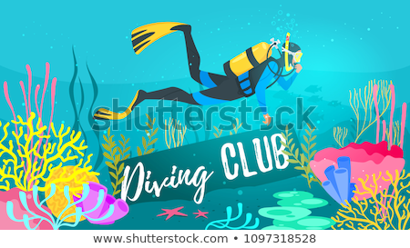 background template with divers underwater stock photo © colematt