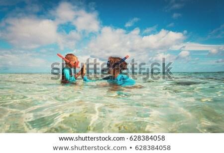 Boldog anya fiú snorkeling tengerpart család Stock fotó © galitskaya