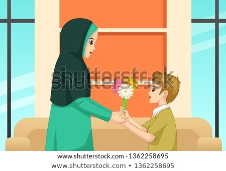 Muslim Boy Giving Flower to His Mother Illustration Stock photo © artisticco