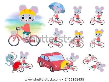 Dier muis cyclus ingesteld jongen paardrijden Stockfoto © toyotoyo