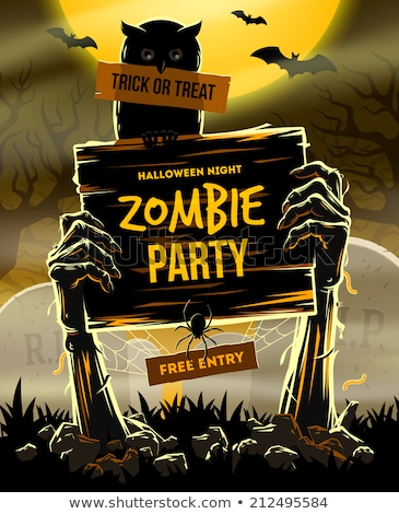 Halloween night poster design with zombie hands Stock photo © bluering