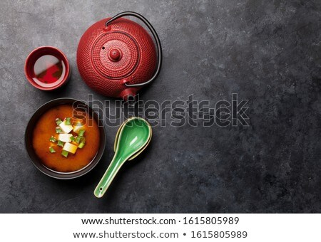 Japanese tea, soup spoon and chopsticks Stock photo © karandaev